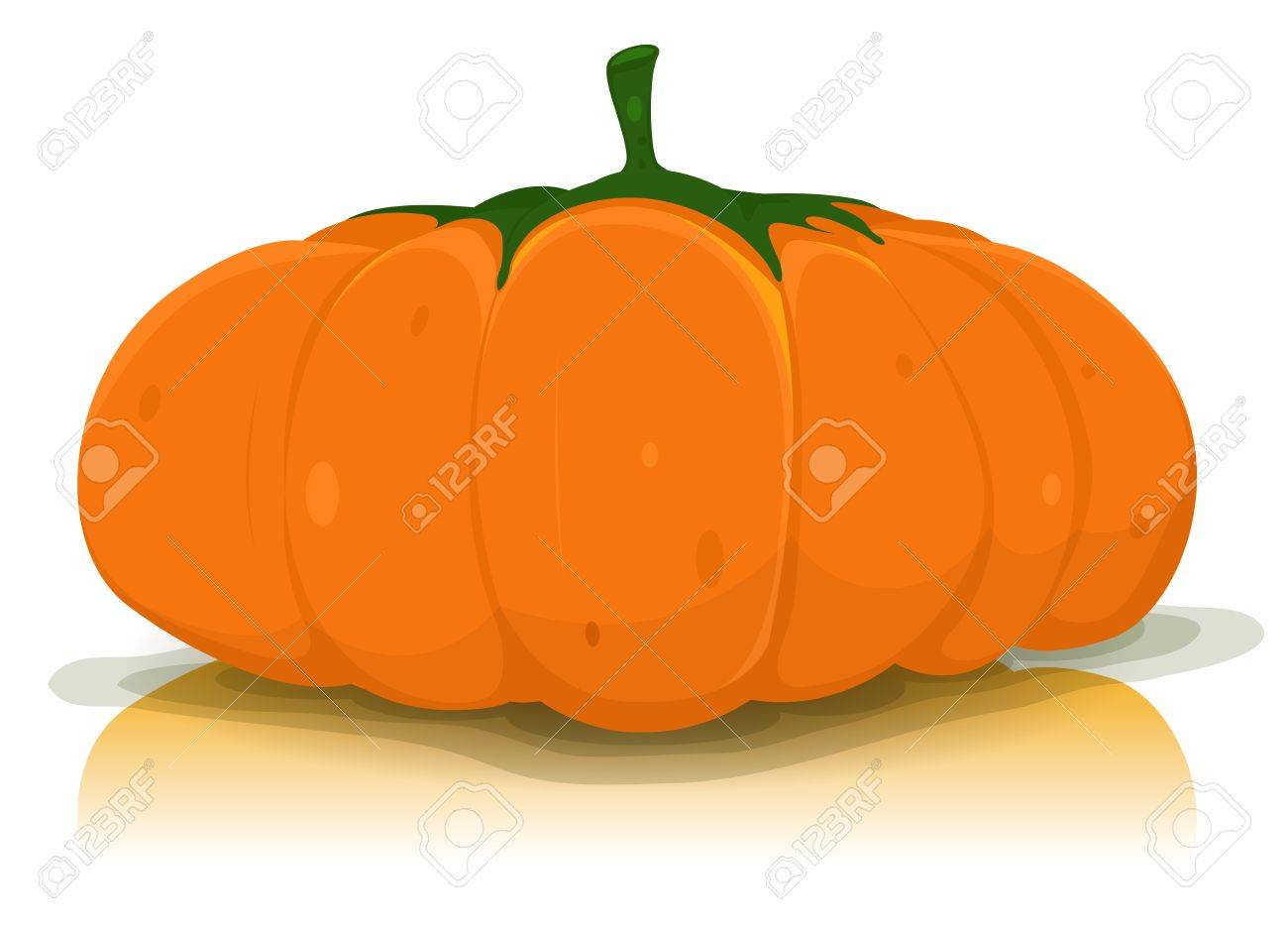 Illustration of a big orange autumn pumpkin vegetable isolated on white background, for halloween or thanksgiving holidays Stock Vector - 15436276