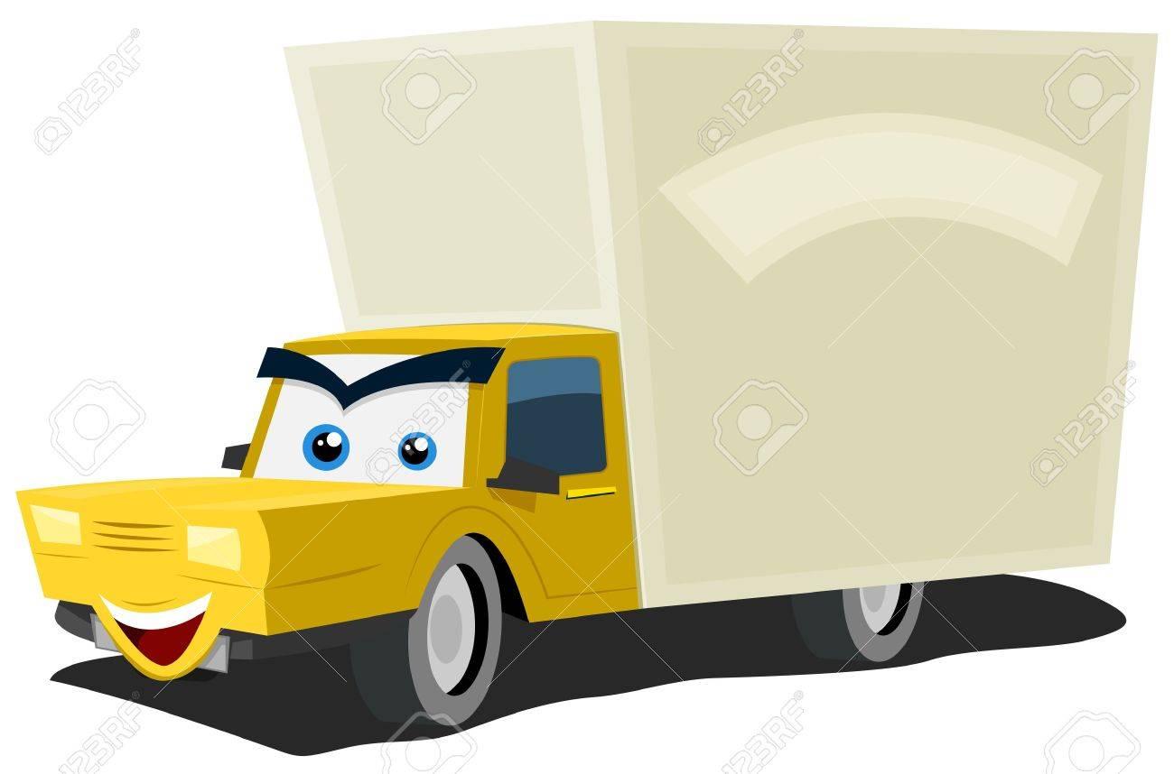 Illustration D Un Dessin Animé Camion De Livraison Caractère Jaune Heureux Et Souriant Avec Copie Espace Pour Le Message Publicitaire