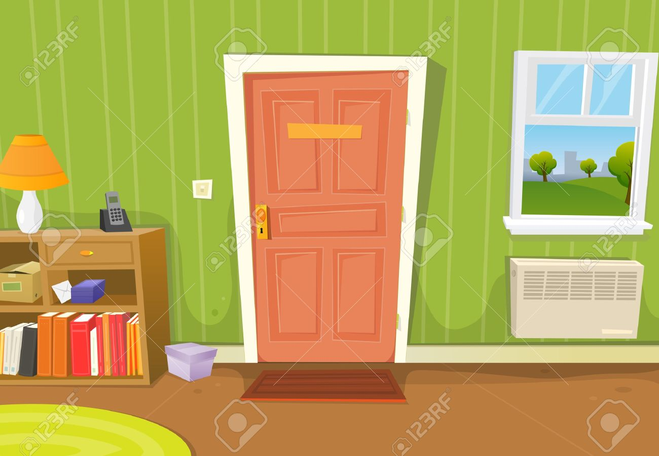 Illustration of a cartoon home interior with living room door entrance, various household objects and window opened on a spring urban landscape - 15843278