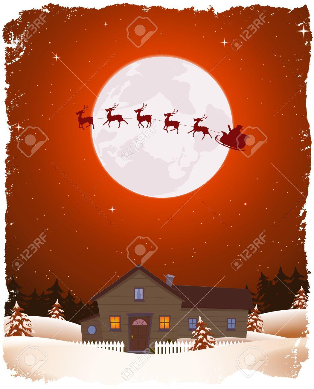 illustration of a cartoon portrait christmas winter landscape