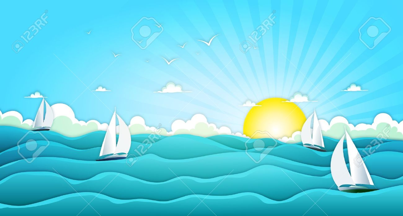 Illustration of a cartoon wide ocean landscape with yachts and sailing boats for spring or summer holiday vacations, including seagulls, rough sea, foam and bright sunshine Stock Vector - 16448562