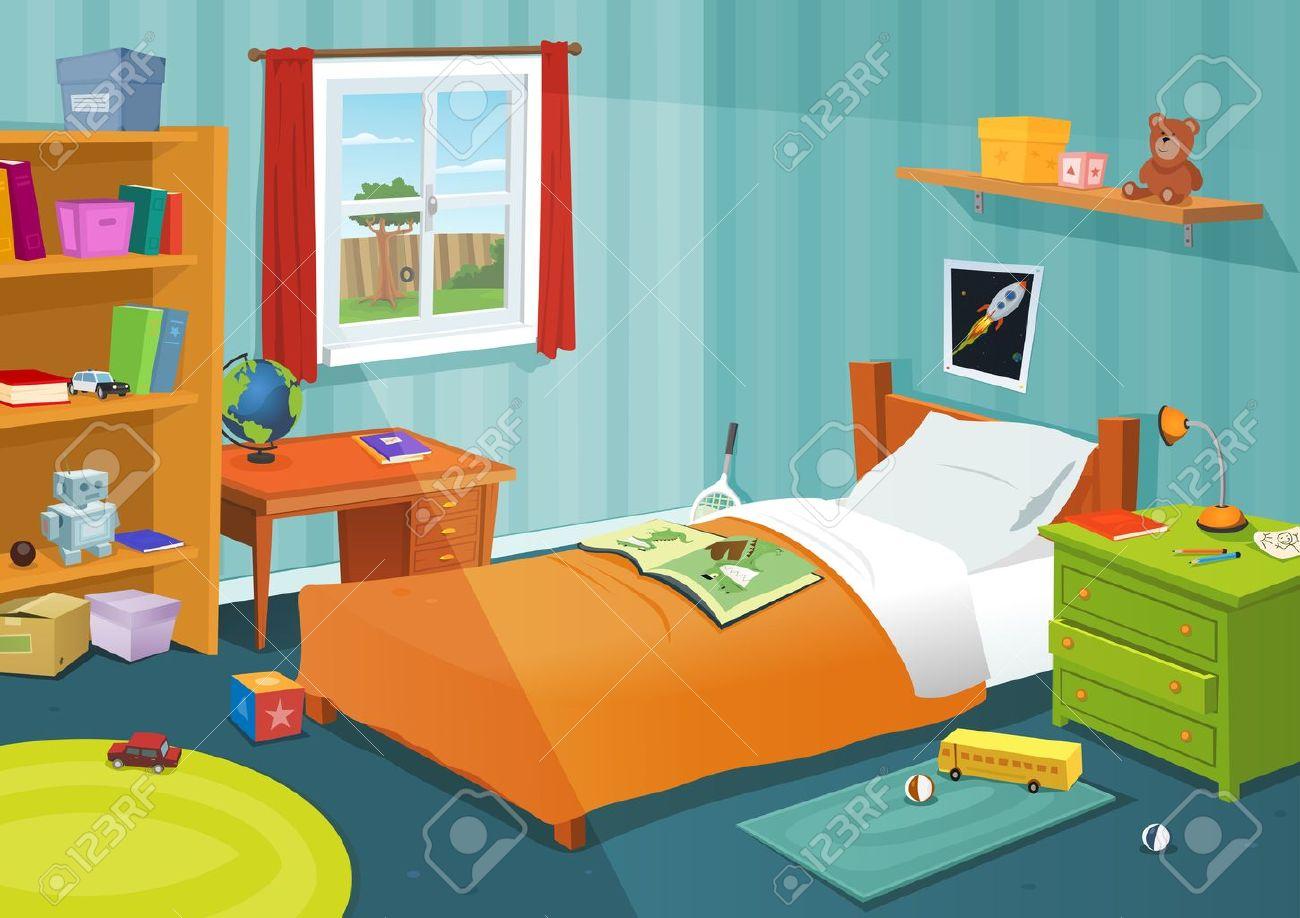 Ilustración De Un Dormitorio De Dibujos Animados Los Niños Con Elementos De Estilo De Vida Muchacho O Muchacha Juguetes Cama Libros Escritorio