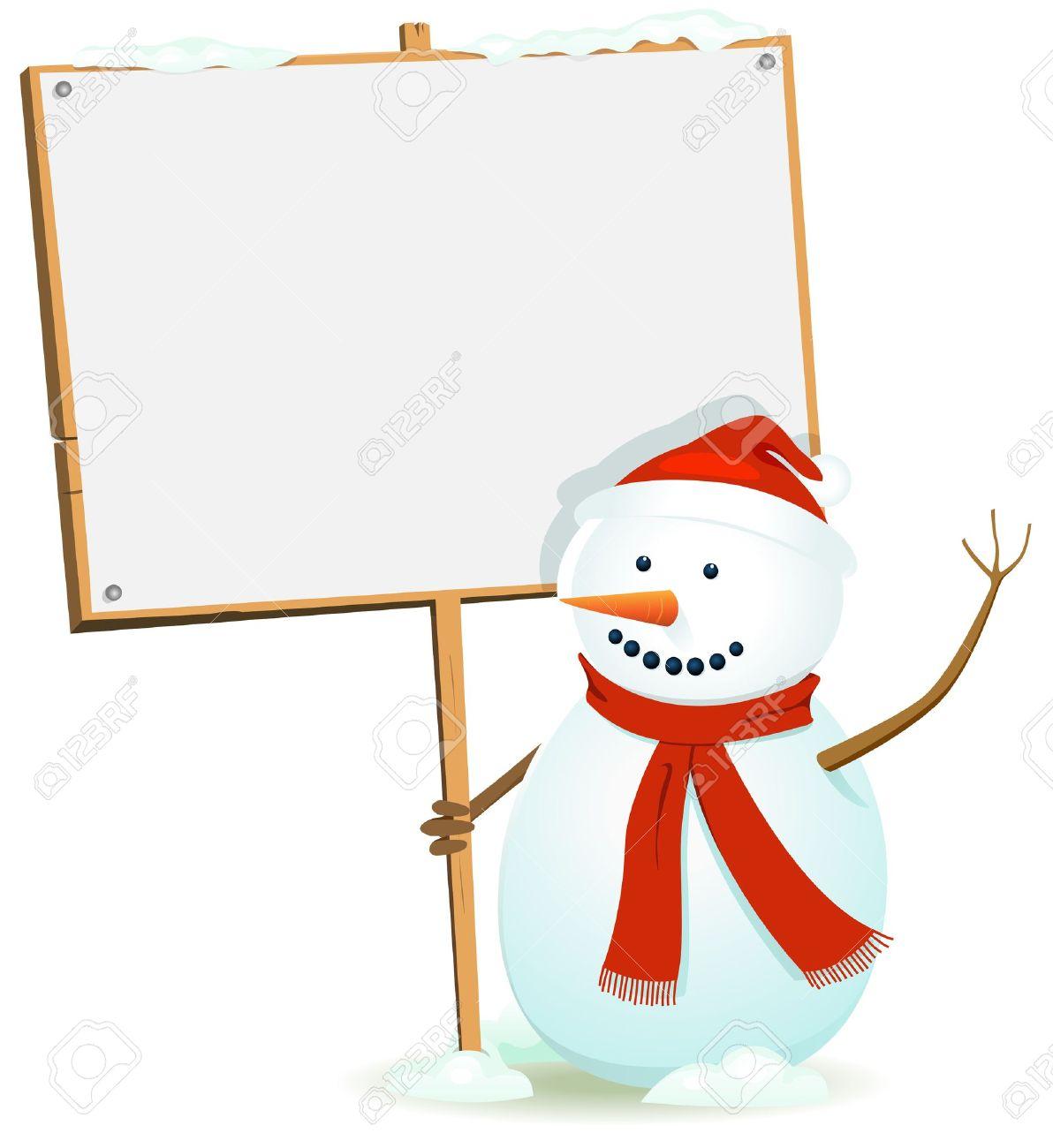 illustration of a cartoon happy santa claus snowman character holding blank wood sign for christmas or - Snowman Santa