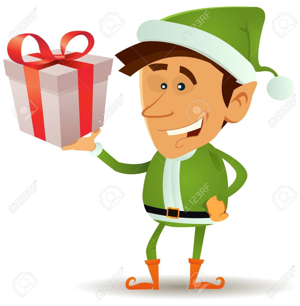 Illustration of a funny happy cartoon christmas elf or leprechaun character smiling and holding santa claus present in his hand Stock Vector - 16814955