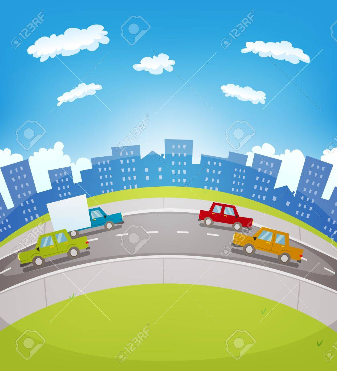 Illustration of a cartoon urban highway traffic in the city with cars and trucks driving along the road Stock Vector - 16957191
