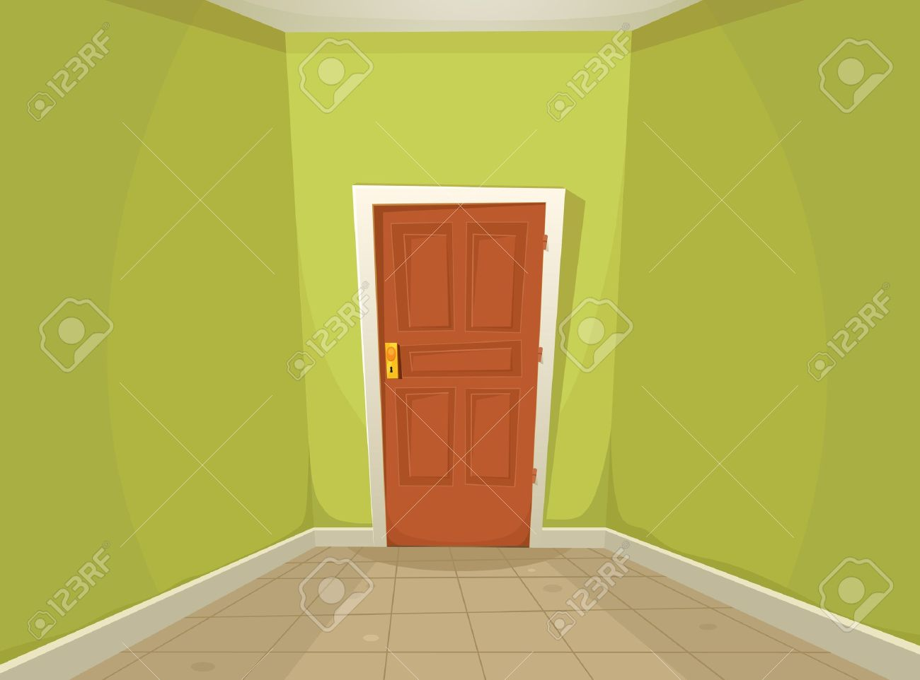 Illustration d une maison de dessin animé ou le couloir de bureau