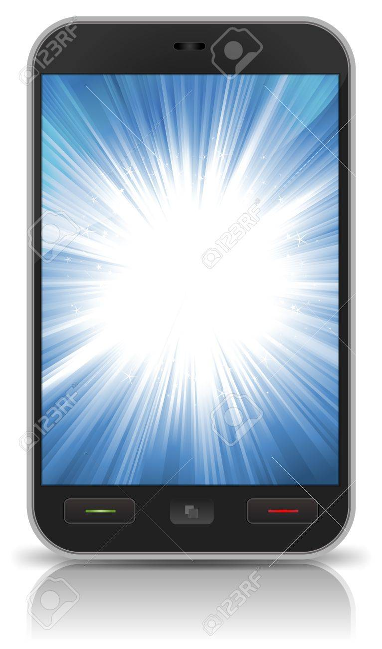 Illustration of an abstract awesome background inside basic smartphone screen, with flat blue screen for your technology background Stock Vector - 17030563