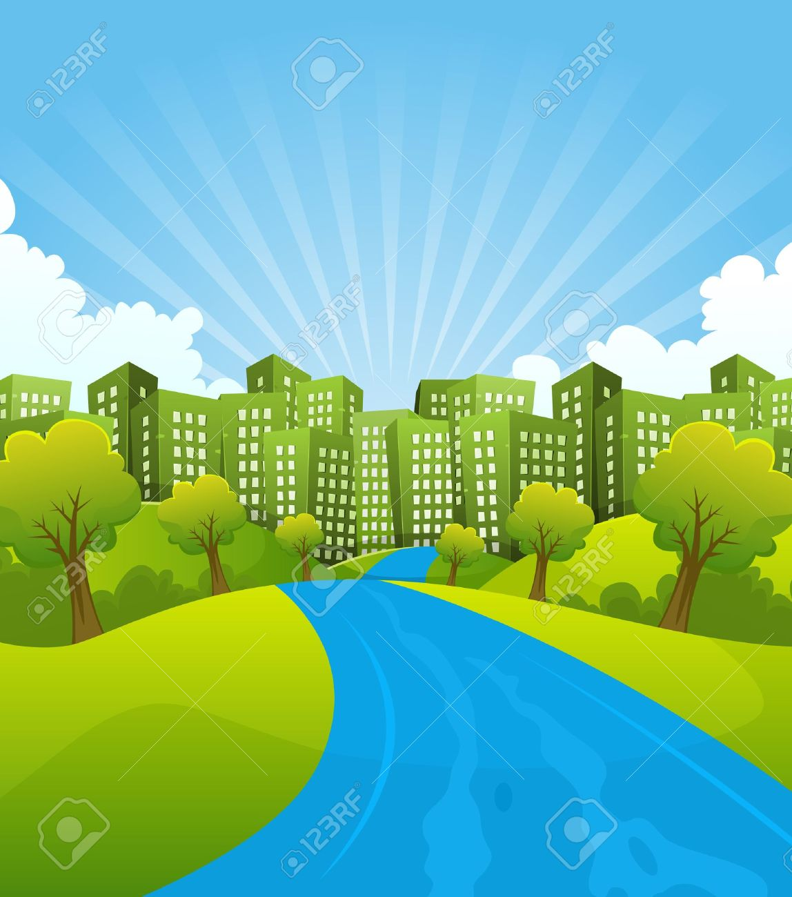 Illustration of a cartoon summer or spring country river going to green cityscape, for environment and ecology background - 17150461