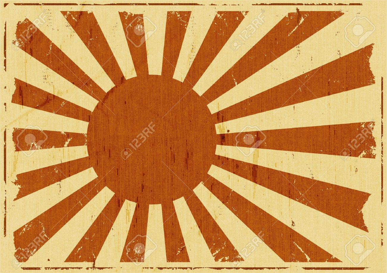 Illustration of a retro vintage japanese flag background poster, symbol for the country of the rising sun Stock Vector - 17187618