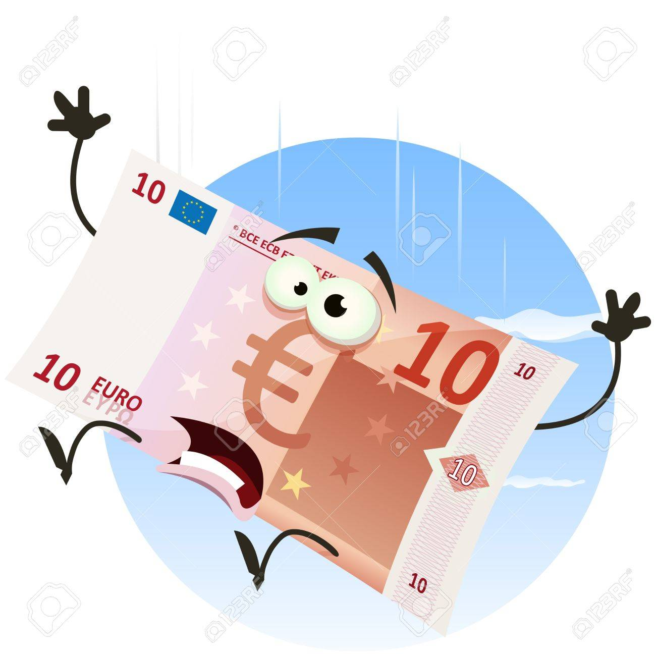 Illustration Of A Cartoon Euro Bill Character Falling In The