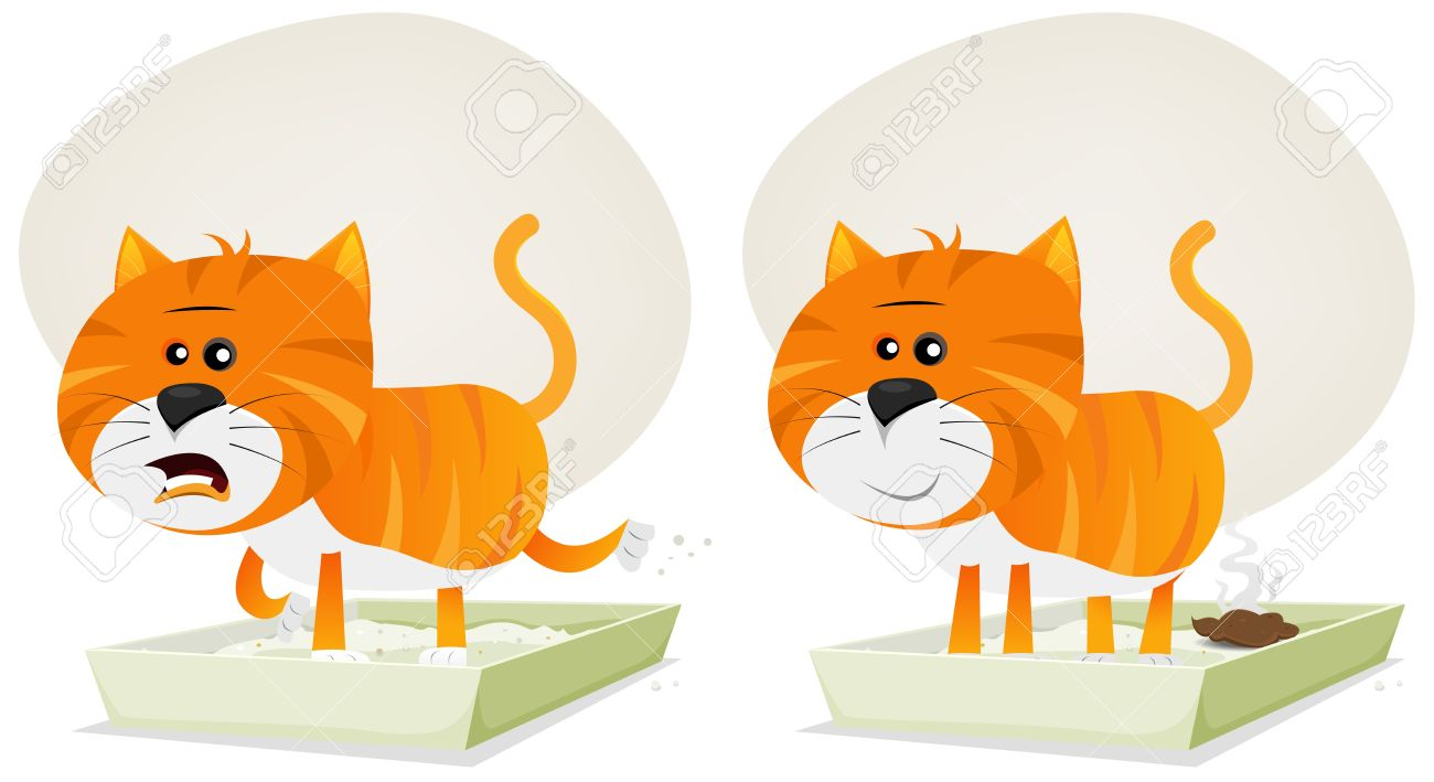 Illustration of a funny redhead streaked cartoon domestic cat character meowing inside litter. Stock Vector - 17689337