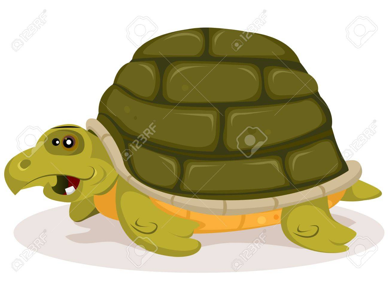 Illustration Of A Funny Happy And Cute Cartoon Green Tortoise