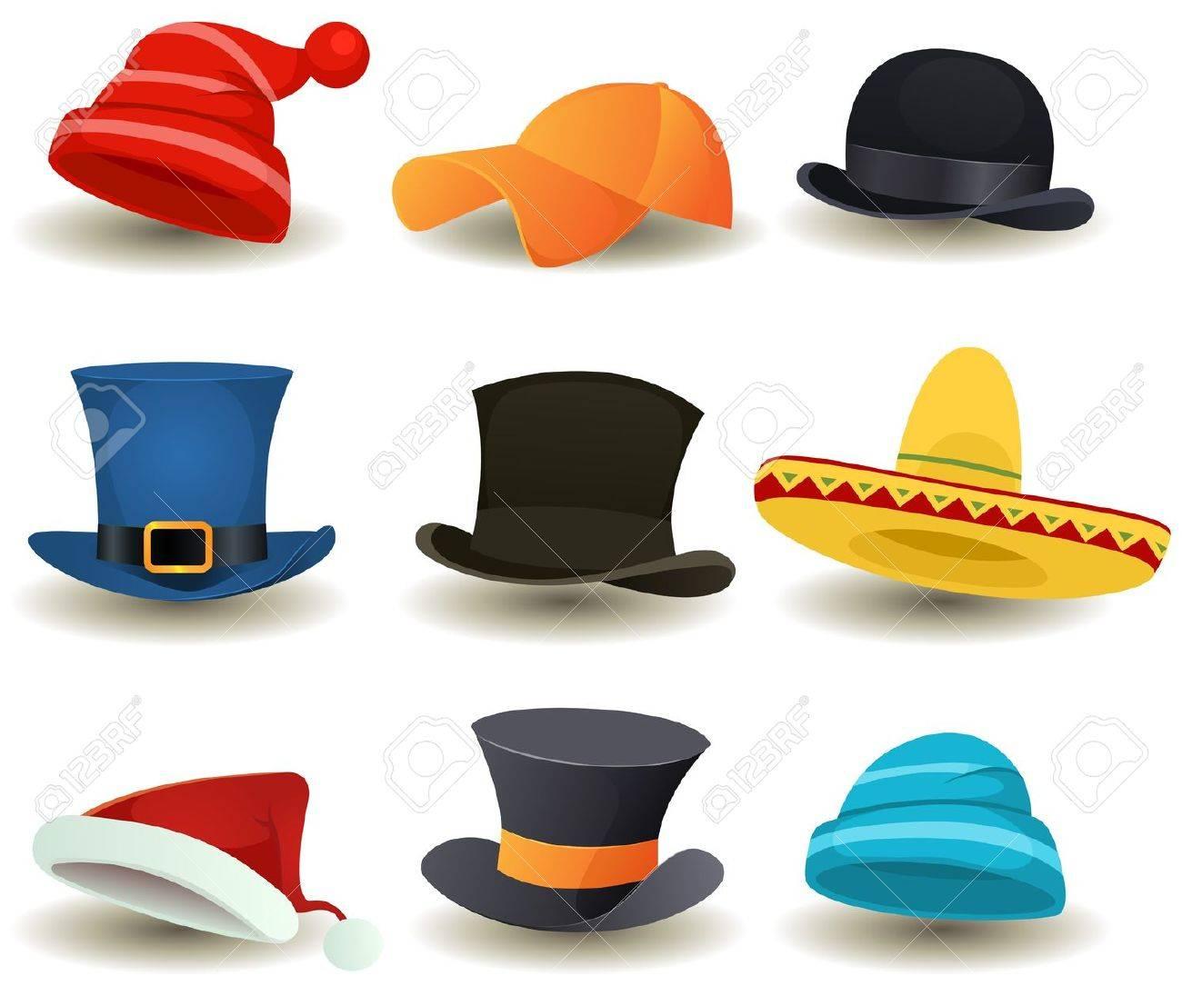 Foto de archivo - Ilustración de un conjunto de dibujos animados o superior  sombreros derby 146b223d879