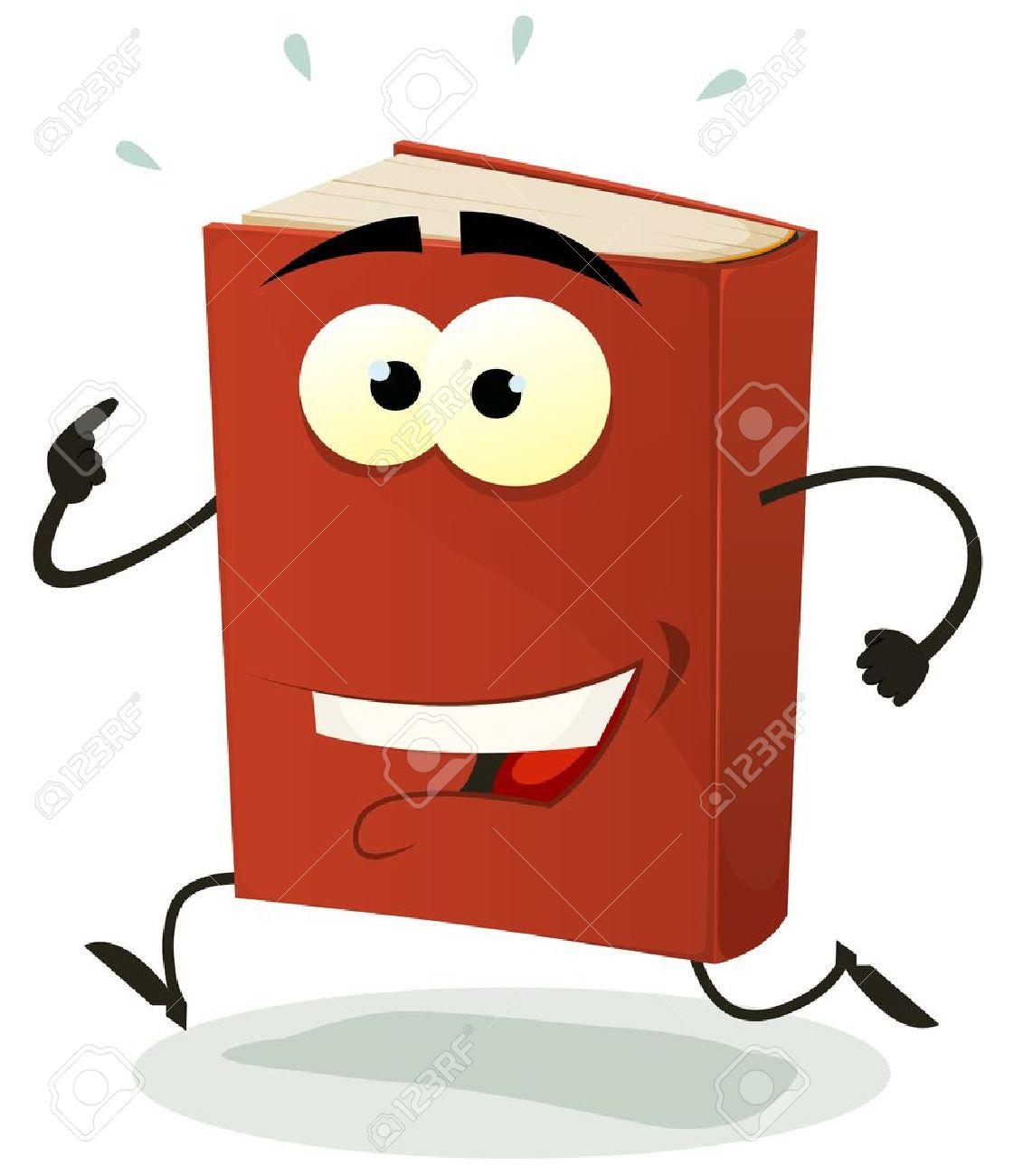 Illustration D Un Personnage De Dessin Anime Livre Rouge Drole Heureux Et En Cours D Execution Isole Sur Fond Blanc