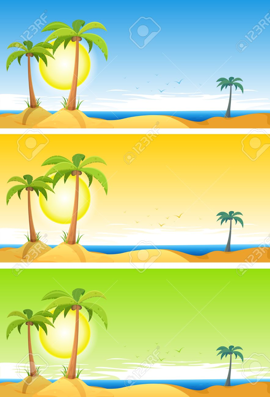 Cartoon Beach Background Palm Trees Background With Palm Trees