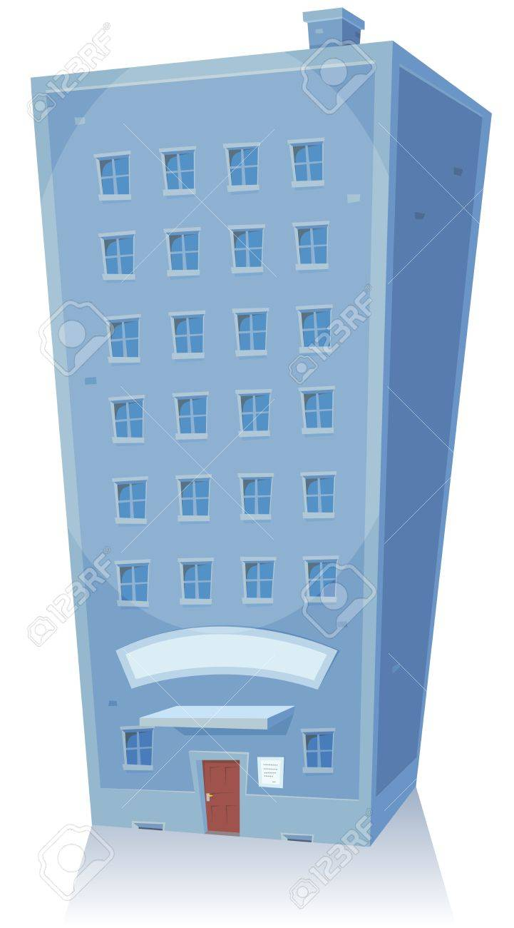 Illustration of a cartoon retail shop, store, office or apartments high residential building tower with blank banner, closed door and windows isolated on white Stock Vector - 18596075