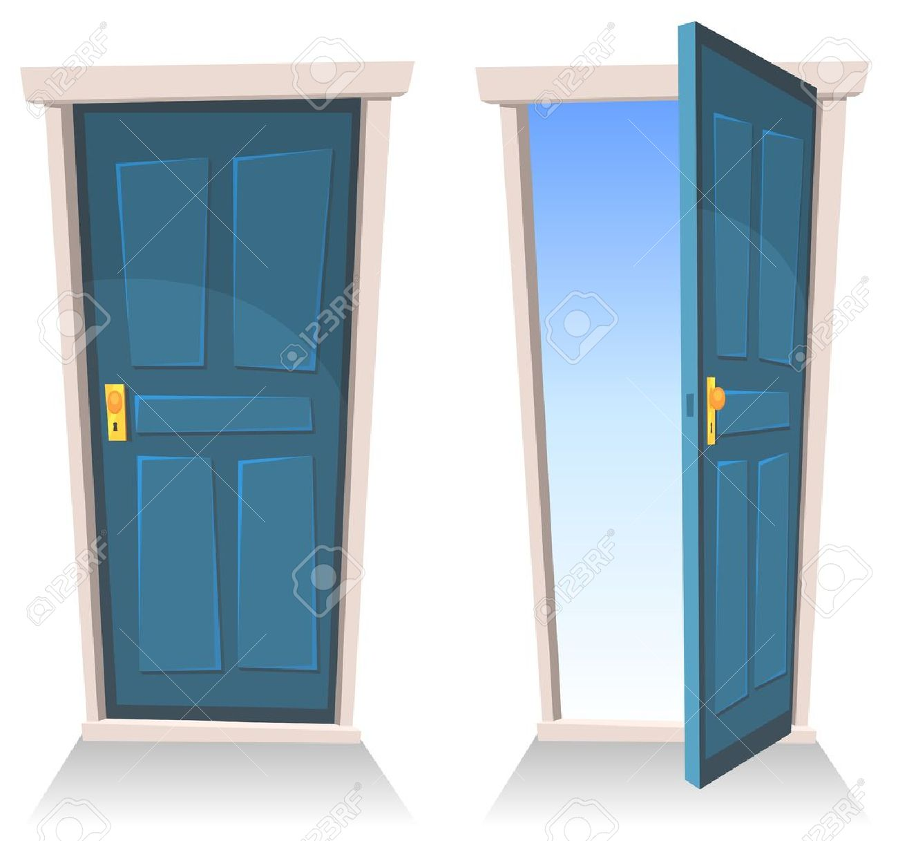 Illustration of a set of cartoon front doors opened and closed with sky background, symbolizing death frontier, paradise or heaven's gate - 18596071