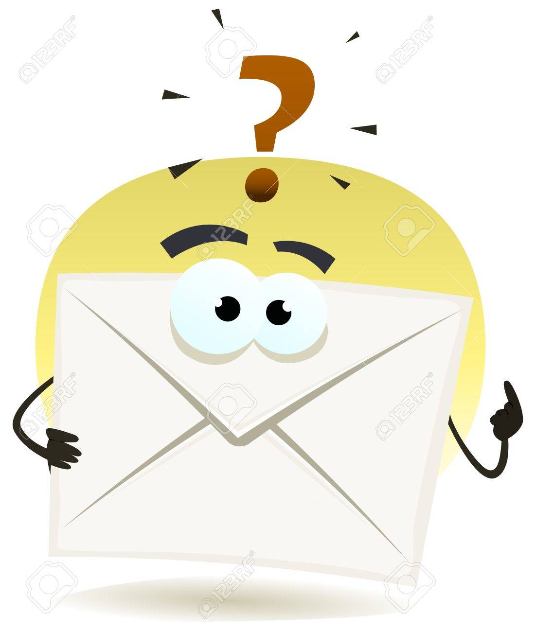 Illustration of a contact email icon envelope character asking question for support Stock Vector - 19049133