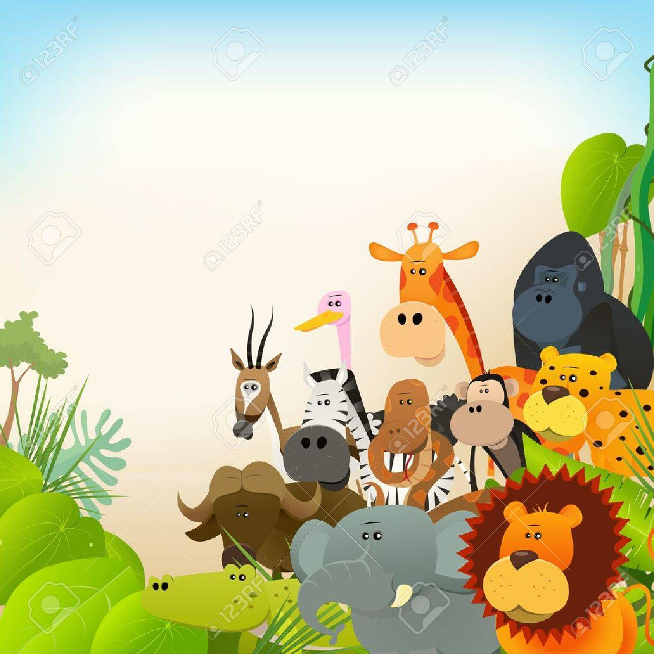 Illustration Of Cute Various Cartoon Wild Animals From African ...