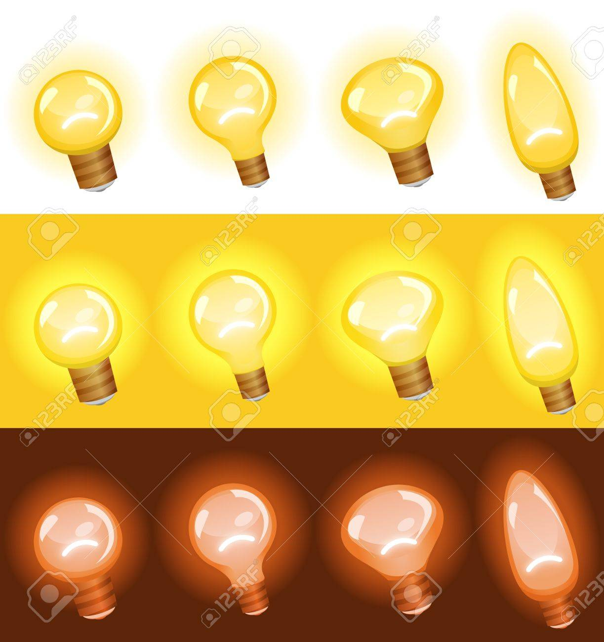 Illustration of a set of cartoon light bulb, isolated on white, in yellow for concept, ideas and success in arts or business, and red for danger, warning sign and security symbols Stock Vector - 19354342