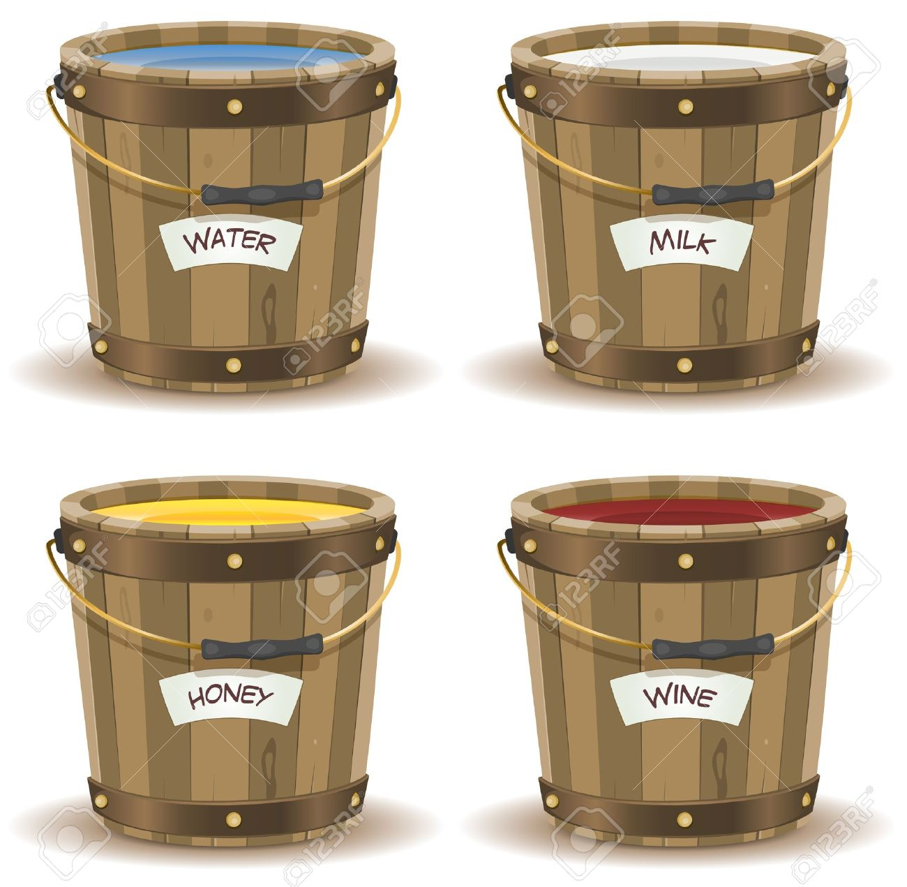 Illustration of a set of cartoon wooden bucket with handle and gold metal strapping, containing various liquid beverage, water, milk,wine, and honey with their respective label banner Stock Vector - 19694894