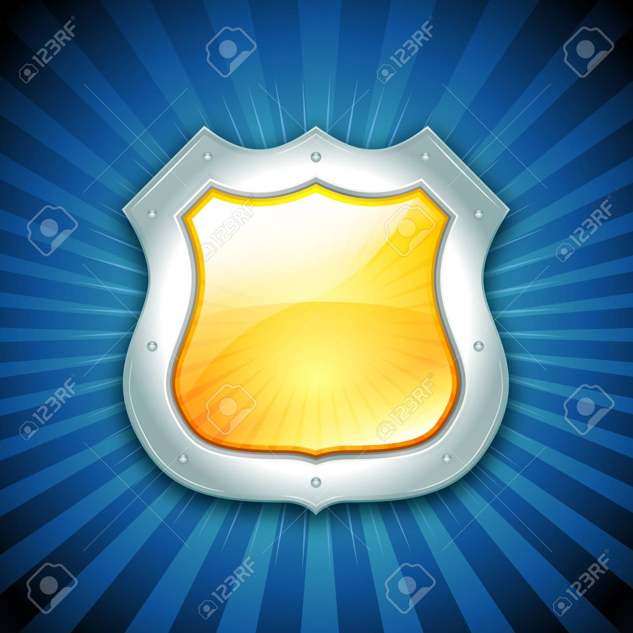 Illustration of a glossy security and protection icon with sunbeams background for guarantee symbols Stock Vector - 19874801
