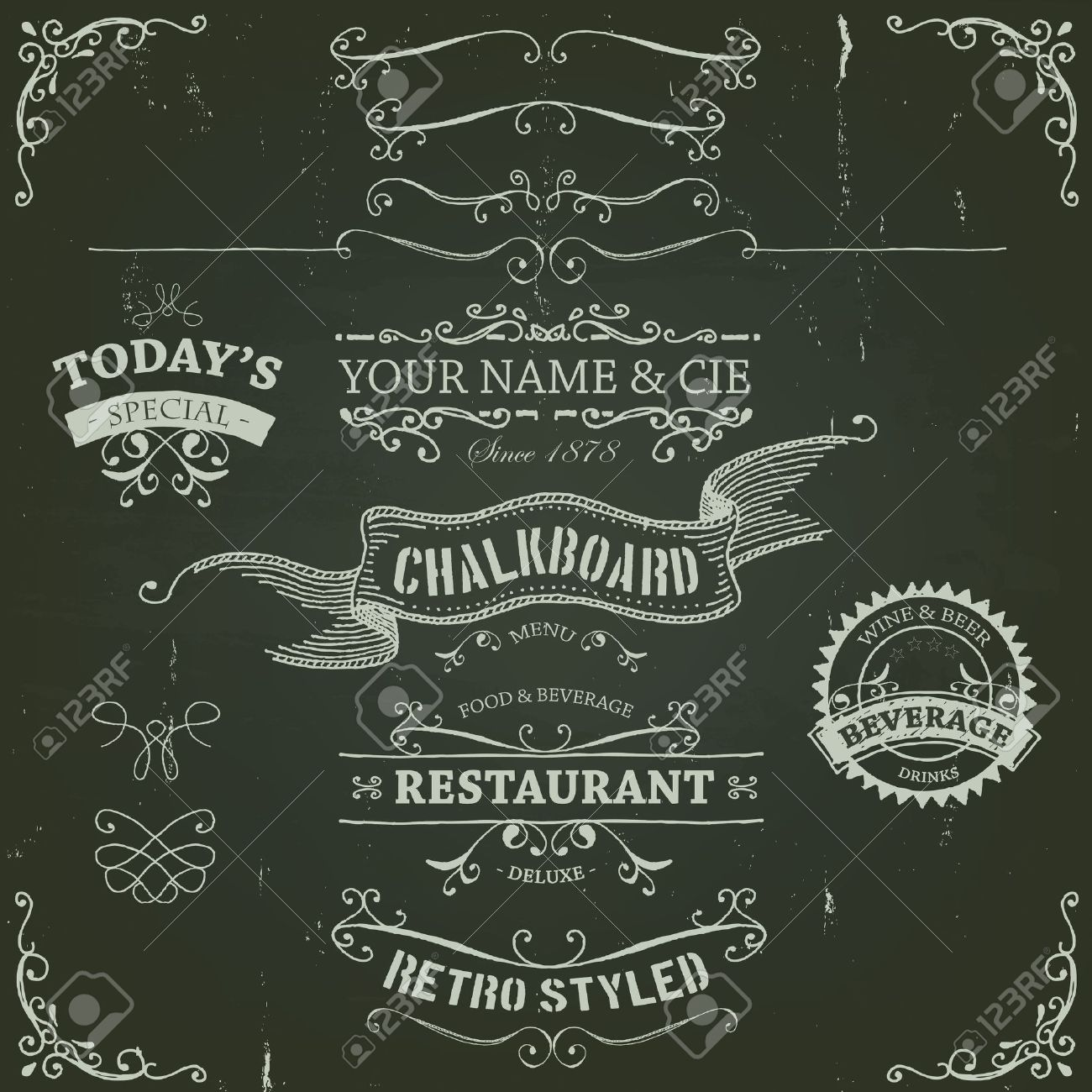 Illustration of a set of hand drawn sketched banners, ribbons for food, restaurant and beverage design elements on chalkboard background Stock Vector - 20046859
