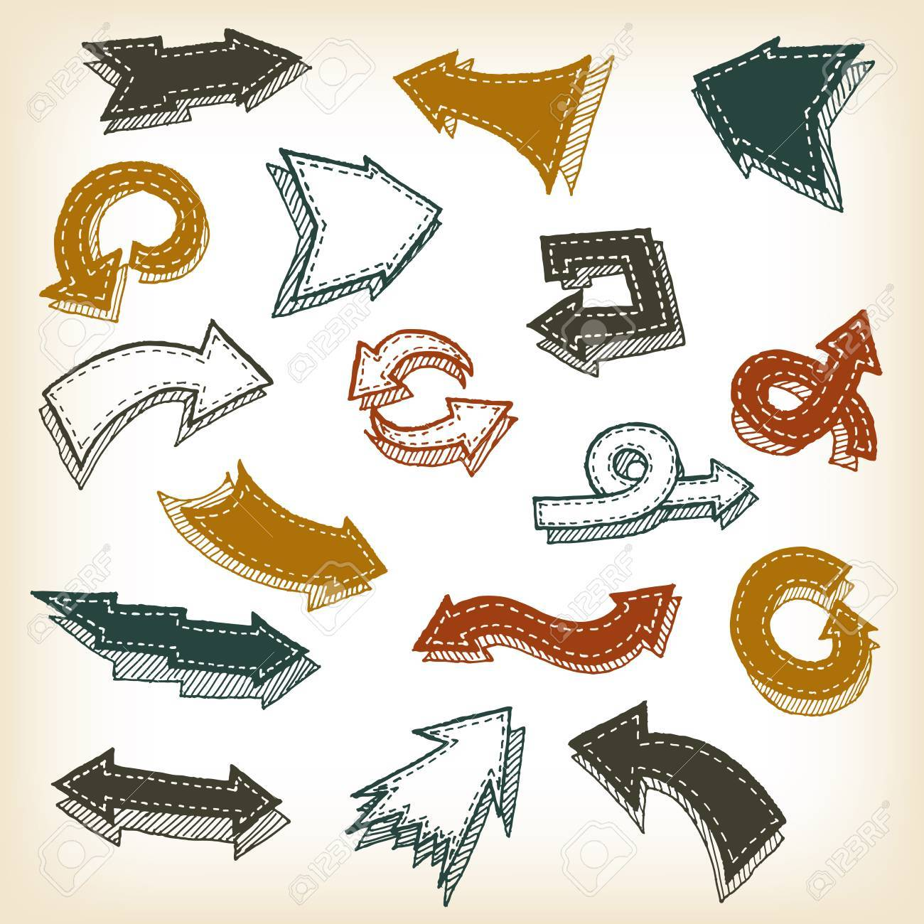 Illustration Of A Set Doodle Hand Drawn Arrows And Signs On Vintage Background Stock Vector