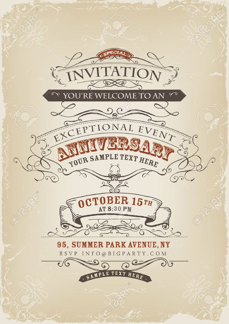 Illustration of a vintage invitation poster with sketched banners, floral patterns, ribbons, text and design elements on grunge frame background Stock Vector - 20723311