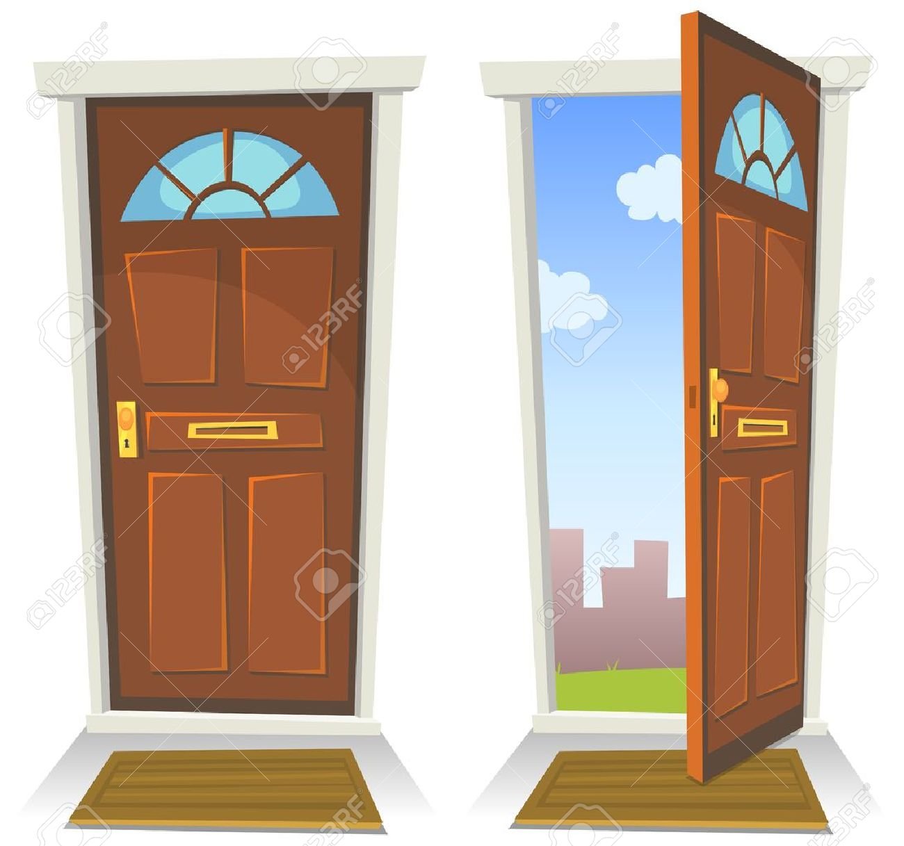 Open Front Door Welcome illustration of a cartoon front red door opened on a spring urban