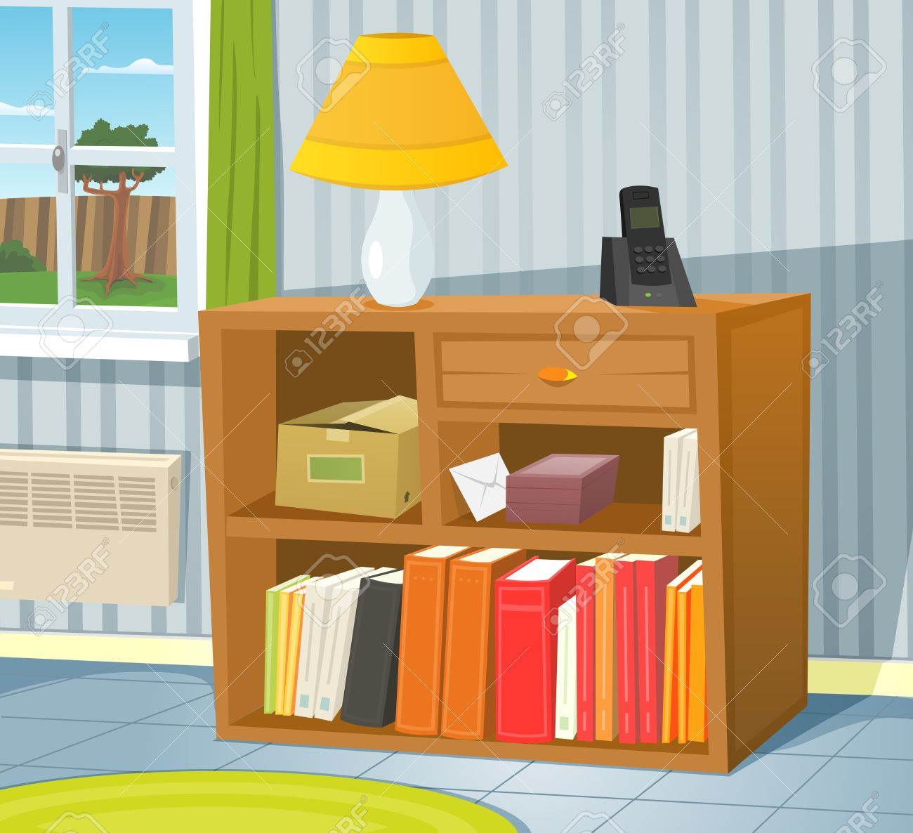 Illustration Of A Cartoon Room Interior Scene With Bookshelf On The Wall And Spring Or Summer