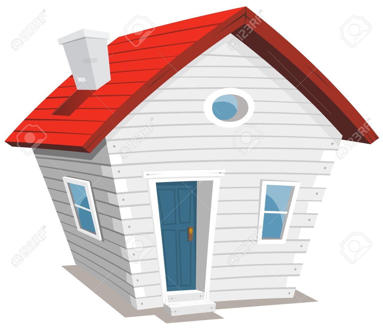 面白い漫画のイラストの白い煙突と木製の小さな家 ロイヤリティフリー