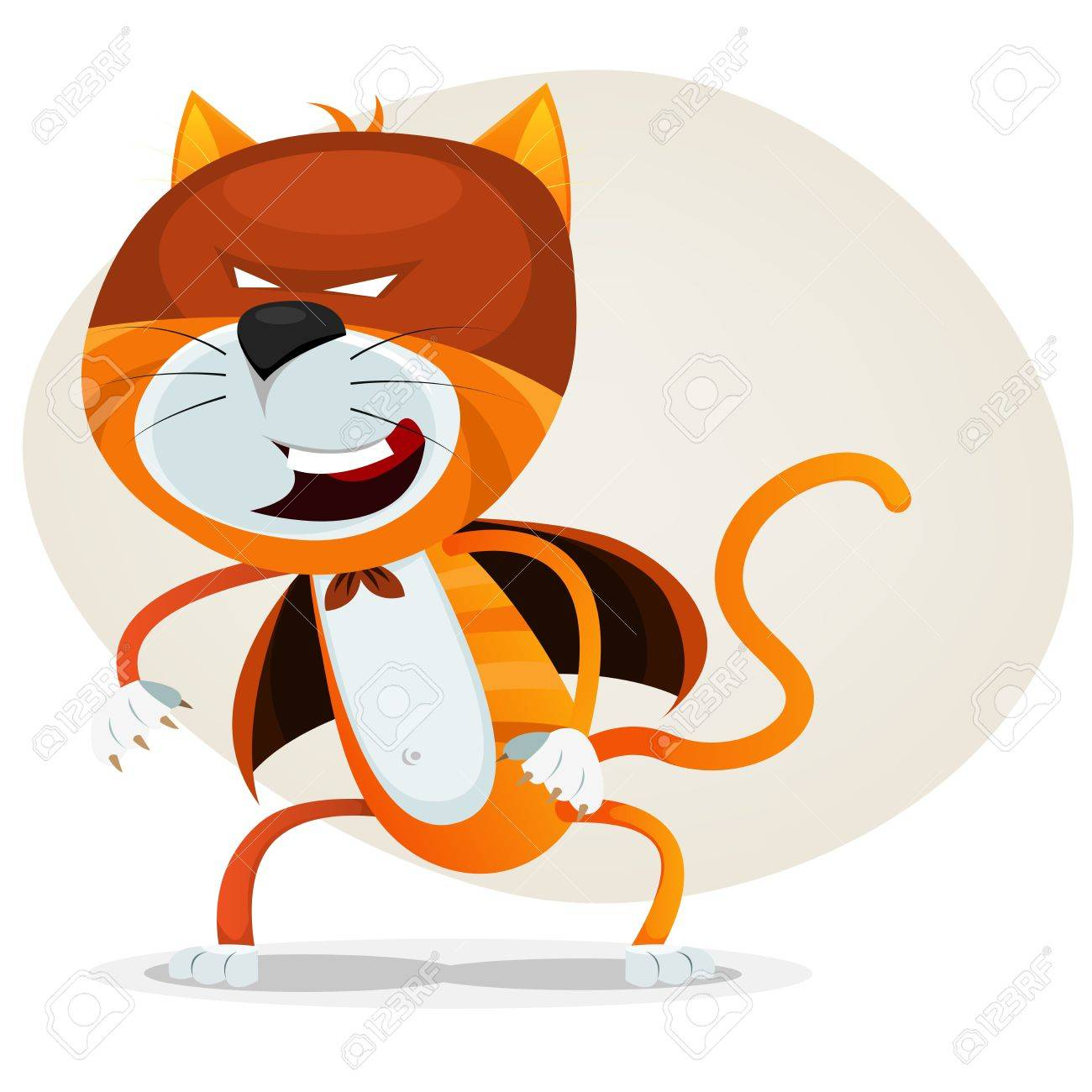 Illustration of a funny cartoon super cat animal character with