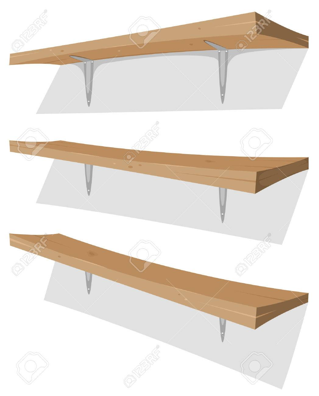 Illustration Of Cartoon Garage Wood Storage Shelves Set On The Wall With  Bracket Stock Vector