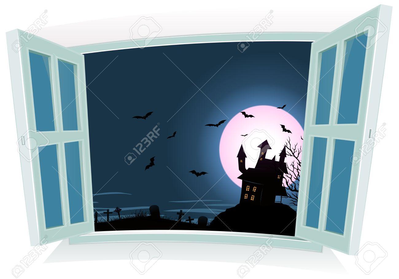 Open window at night - Illustration Of A Cartoon Halloween Castle Inside Night Landscape By An Open Window With Full