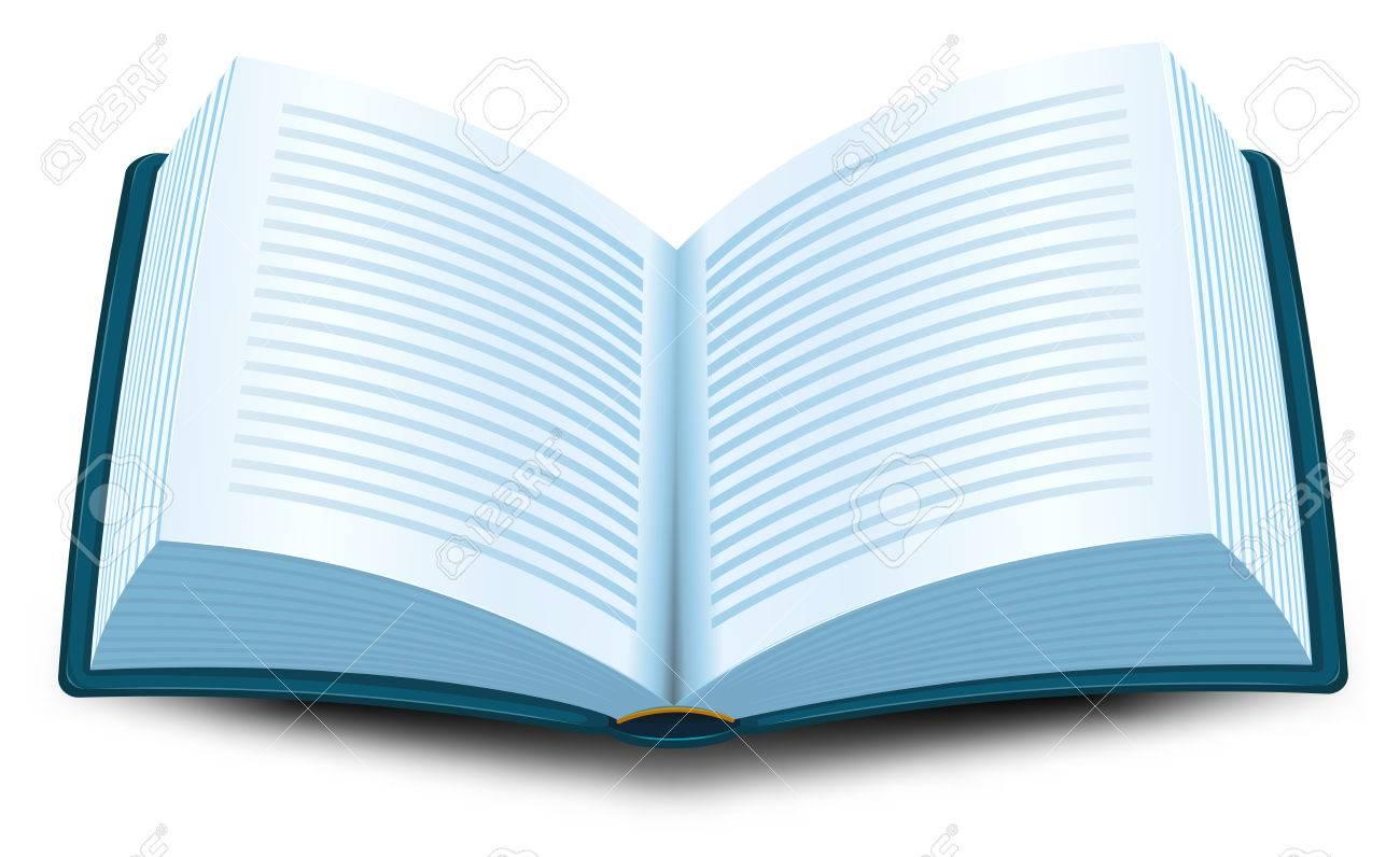 Illustration D Un Dessin Anime A Ouvert Le Livre Bleu Avec Des Lignes De Texte