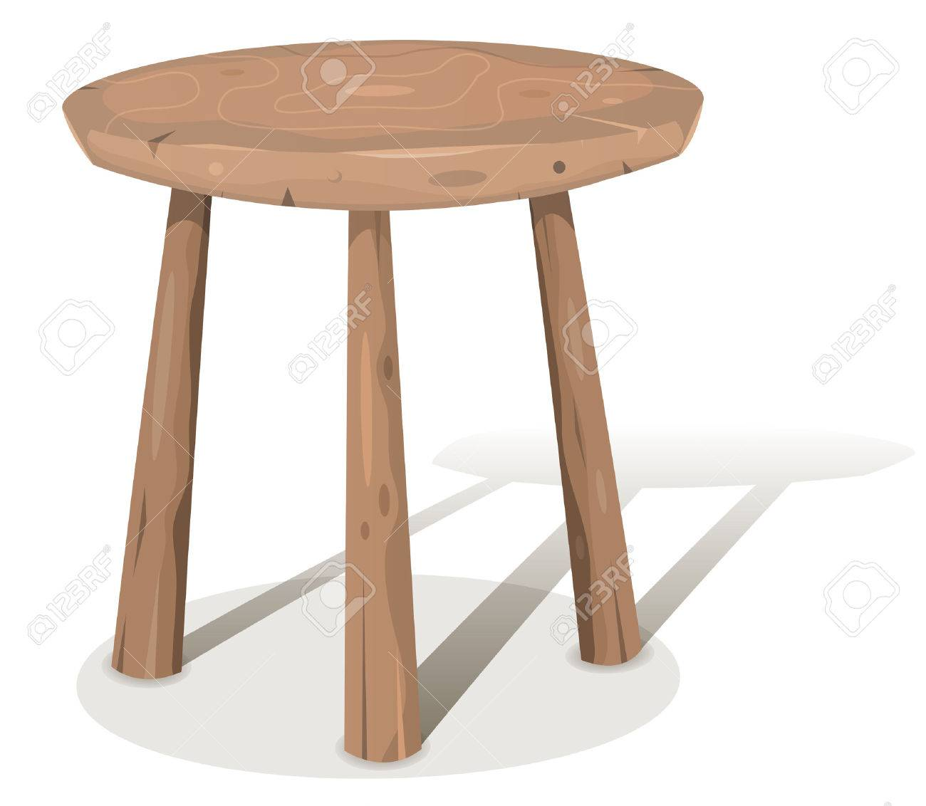 Illustration Of A Cartoon Styled Wooden Stool Or Table With Shadows Stockfoto