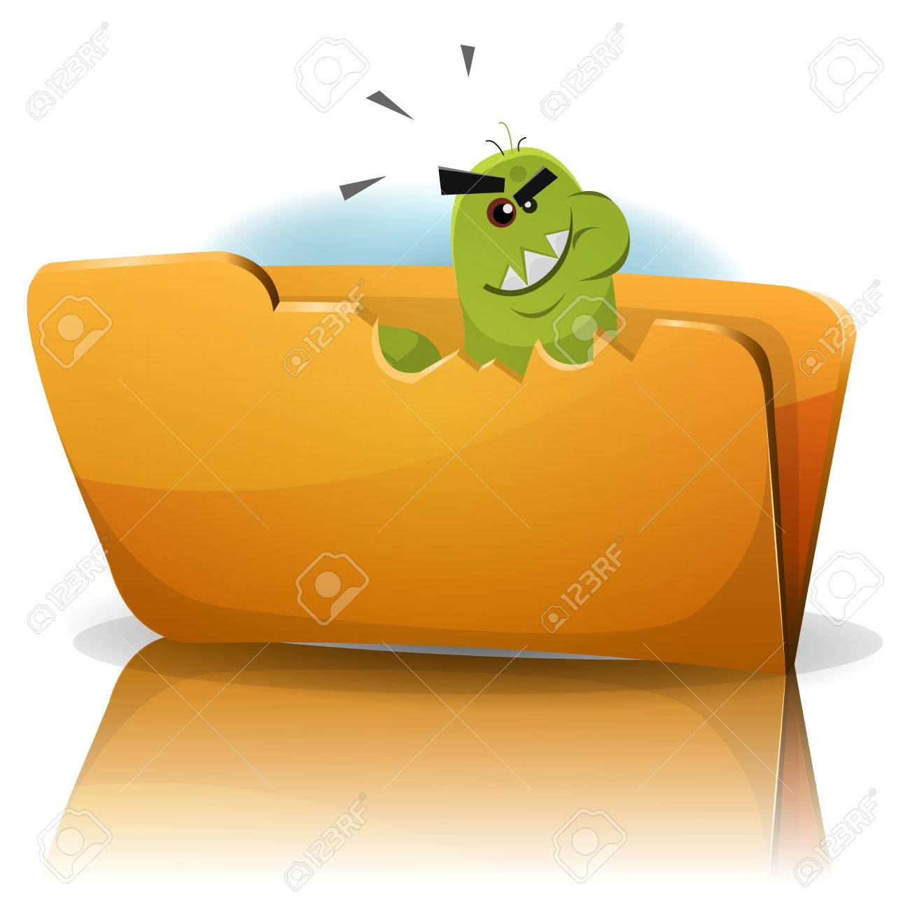 Illustration of a funny cartoon worm trojan virus icon character eating data folder, symbolizing spyware, malware and computer infection Stock Vector - 24441492
