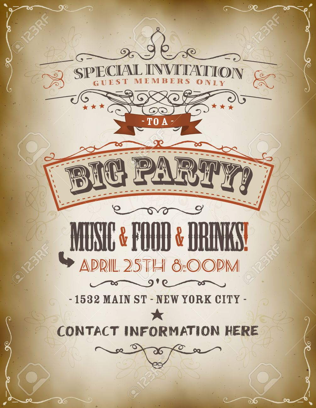 illustration of a retro vintage invitation poster to a big party