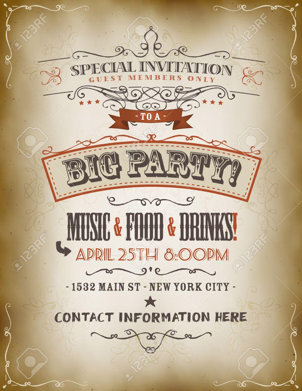 Illustration of a retro vintage invitation poster to a big party illustration of a retro vintage invitation poster to a big party with floral patterns sketched stopboris Gallery