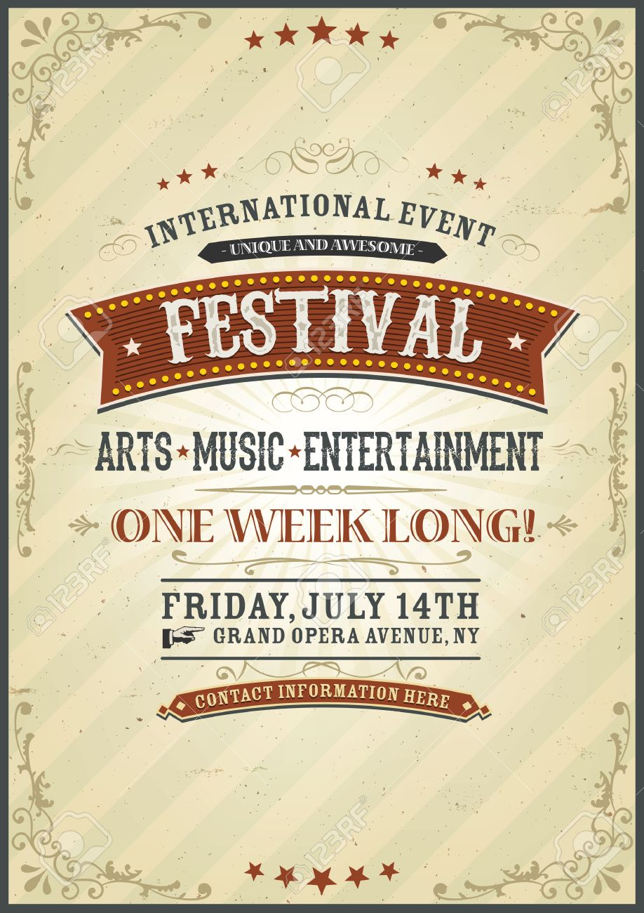 illustration of a vintage design festival invitation poster with