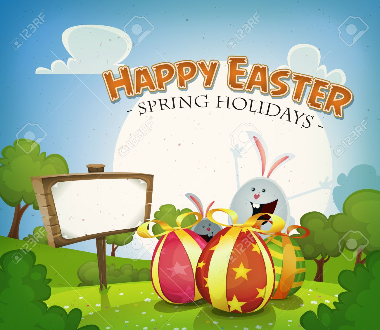 Illustration Of A Cartoon Happy Easter Holidays Background In Spring Or Summer Season With