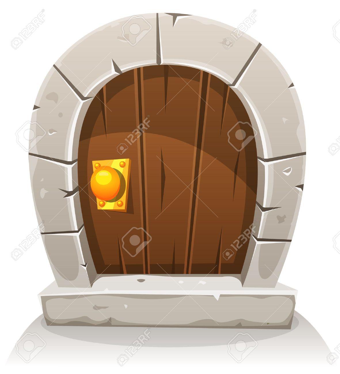 Ilustración De Un Hobbit Cómico Como La Pequeña Puerta De Madera ...