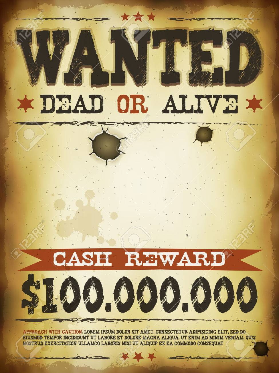 Illustration Of A Vintage Old Wanted Placard Poster Template, With Dead Or  Alive Inscription,