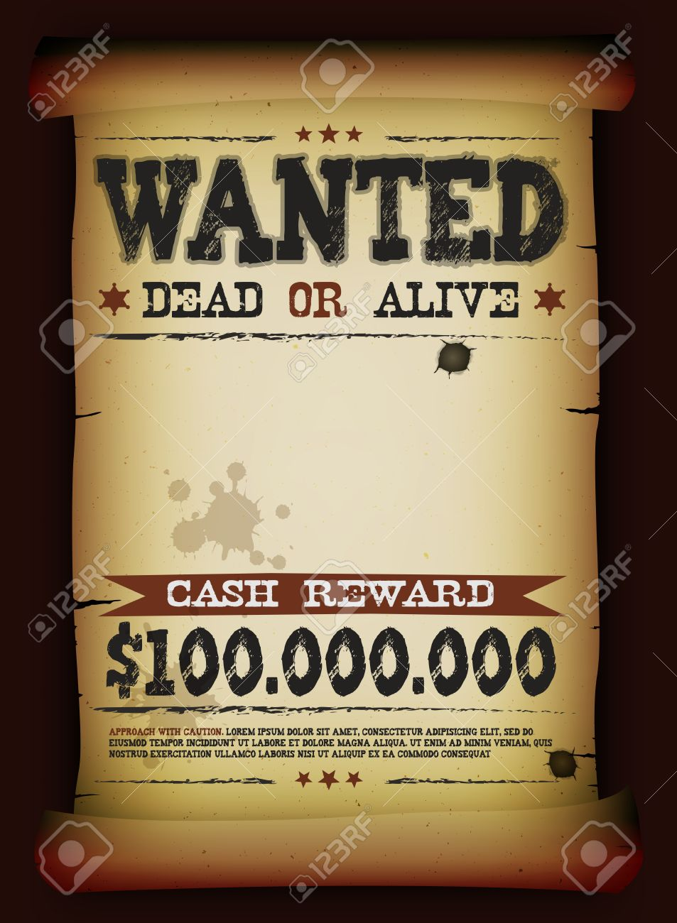 Illustration Of A Vintage Old Wanted Placard Poster Template