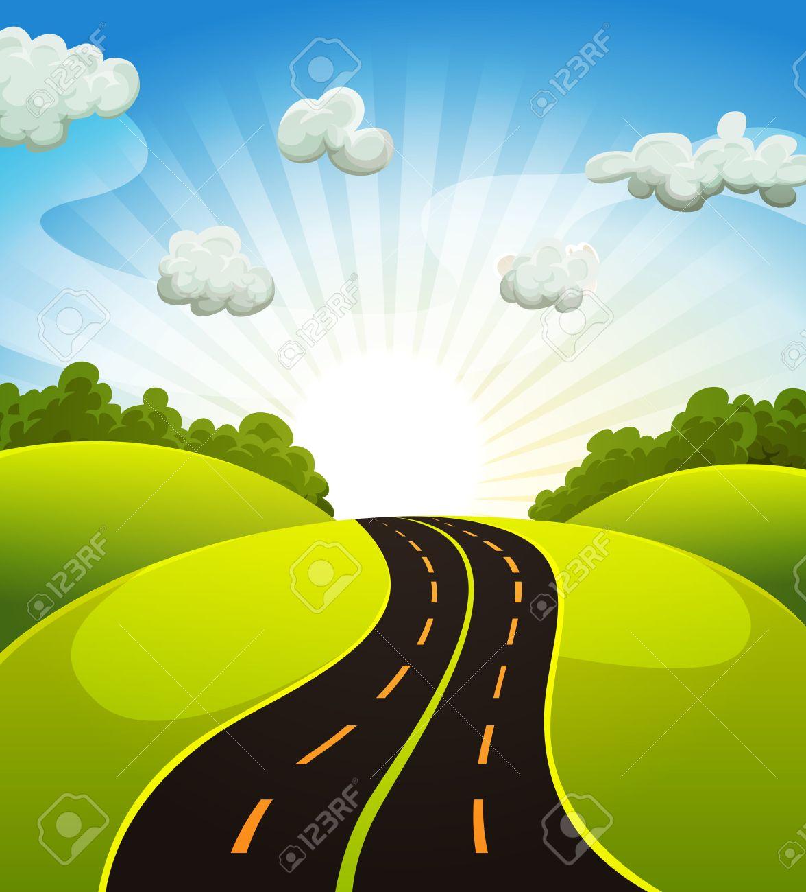 Dessin De Route illustration d'une route la conduite de dessin animé des champs et