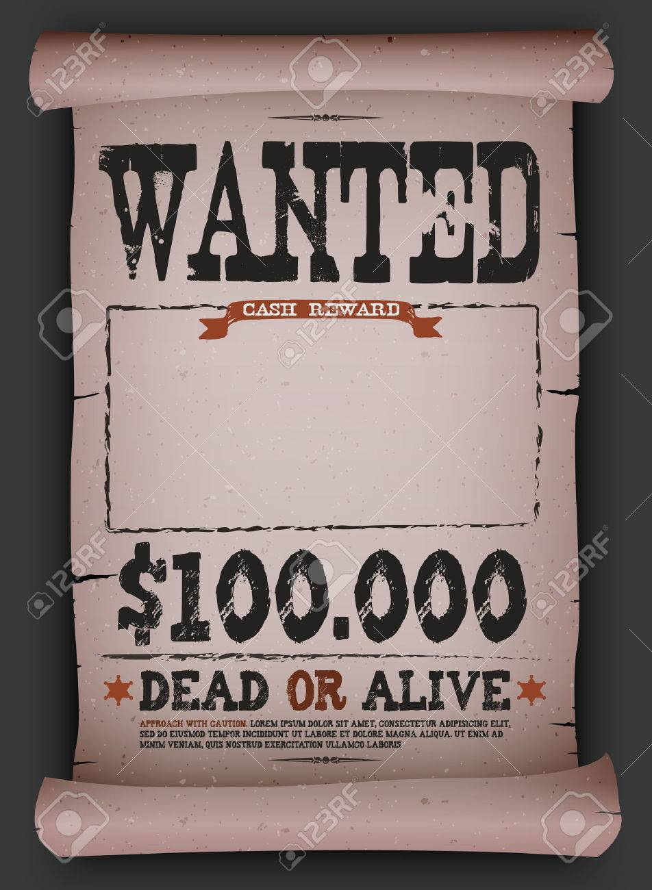 Illustration Of A Vintage Old Wanted Placard Poster Template ...
