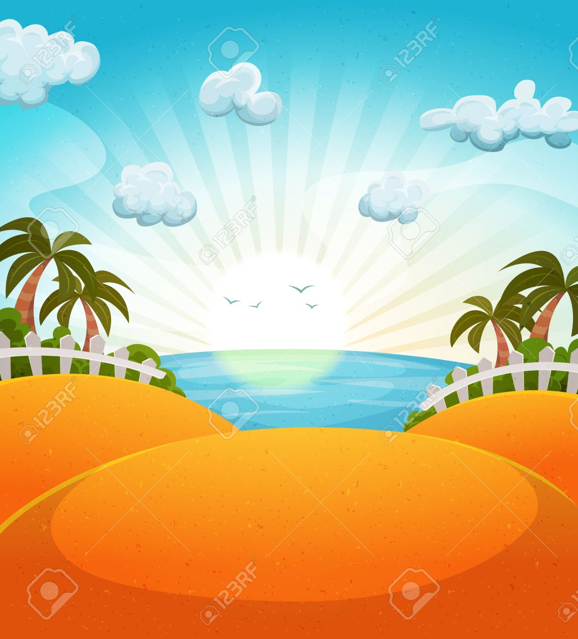 Illustration Of A Cartoon Summer Ocean Beach Landscape With Palm Trees And Sun Shining Stock Vector
