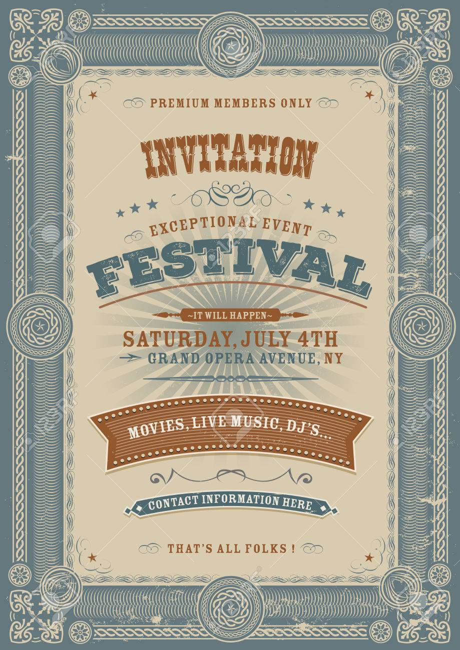 Illustration Of An Elegant Vintage Fourth July Invitation Background To A Festival Event With Various