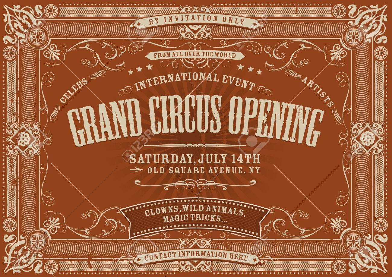 Illustration of a horizontal vintage retro circus invitation illustration of a horizontal vintage retro circus invitation poster background to a grand opening with stopboris Gallery